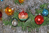 Christmas balls on the christmas tree — Stok fotoğraf