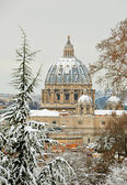 Saint peter basilica under snow — Stock Photo
