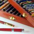 Collection of fountain pens — Stock Photo