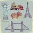 Statue of Liberty, Great Sphinx, Colosseum, London Bridge and Eiffel tower. Vector illustration — Stock Vector