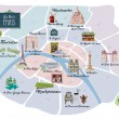 Picturesque Paris map - Stock Vector