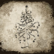 Goth Christmas tree with black snowflakes — 图库矢量图片