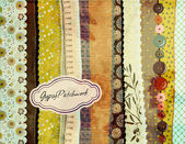 Gypsy Patchwork, Hand-Painted Background — Vecteur