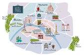 Picturesque Paris map — Stock Vector
