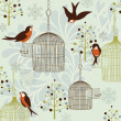 Bullfinches in a Winter Garden — Imagen vectorial