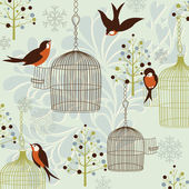Bullfinches in a Winter Garden — Stok Vektör