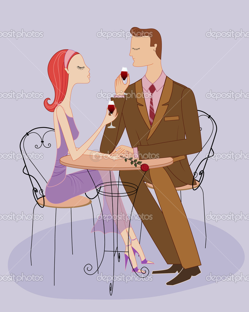 Romantic date with red wine and red rose, couple in love — Grafika wektorowa #9194591