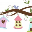 Birdhouses — Vector de stock #9219915