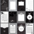 Invitations and Journal Cards, Black and White - Stock Vector