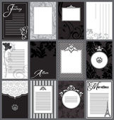 Invitations and Journal Cards, Black and White — Stock Vector