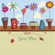 Whimsical Flower Pots Background — Stock Vector