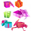 Vibrantly-Colored Gift Boxes — Stock Vector #9220641
