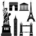 World Famous Landmarks — Stock Vector