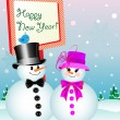 Snowman and Snow-Woman Celebrating New Year's Eve - Stock Vector