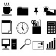 Black and White Office Icons - Stock Vector