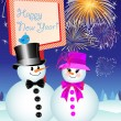 Snowman and Snow-Woman Celebrating New Year's Eve — Stock Vector