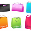 Vibrant-colored shopping bags — Stock Vector