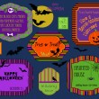 Stock Vector: Halloween labels, invitations and stamps