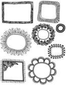 Sketchy Doodle Frames — Stock Vector