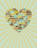 Bir kalp şeklinde gospel şarkısı — Stok Vektör
