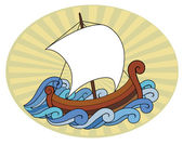 Little ship sailing towards sun — Stock Vector