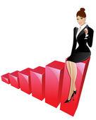 Biznes kobieta na górze — Wektor stockowy
