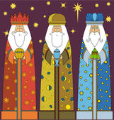Christmas: Three Kings - Three Wise Men — Stock Vector