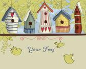 Cabanes d'oiseaux colorés, fond horizontal — Vecteur