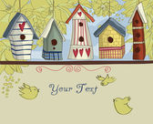 Colorful Birdhouses, Horizontal Background — Vettoriale Stock