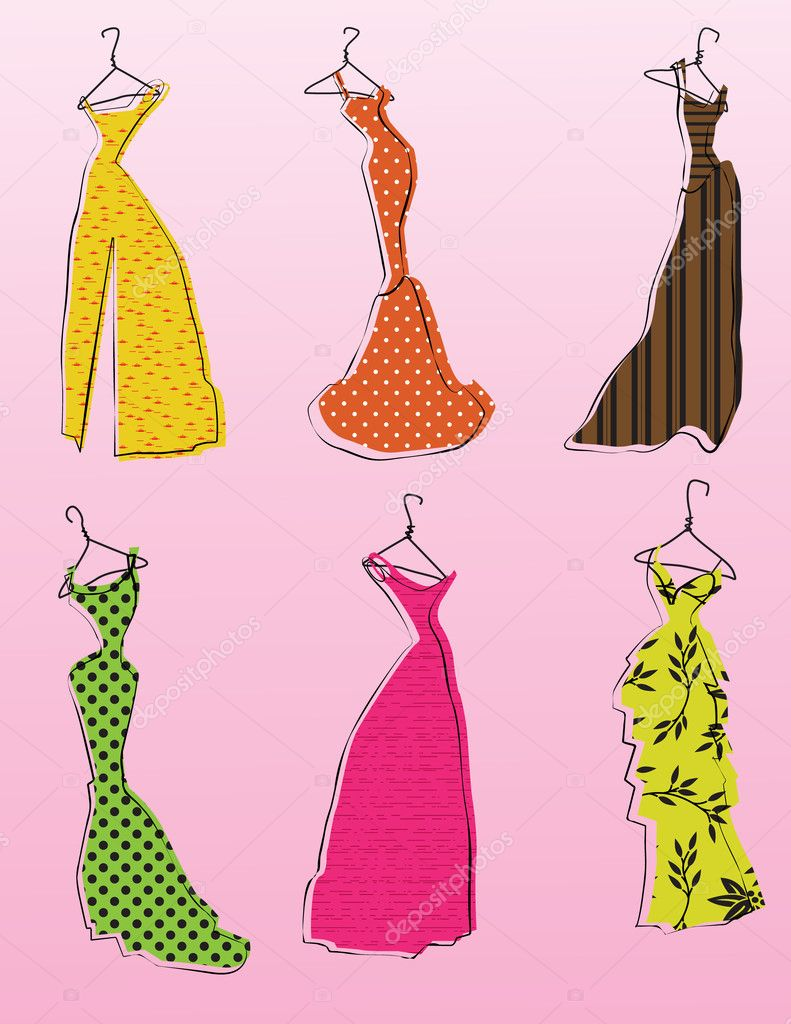 Glamorous dresses and gowns on hangers — Stock Vector #9220507