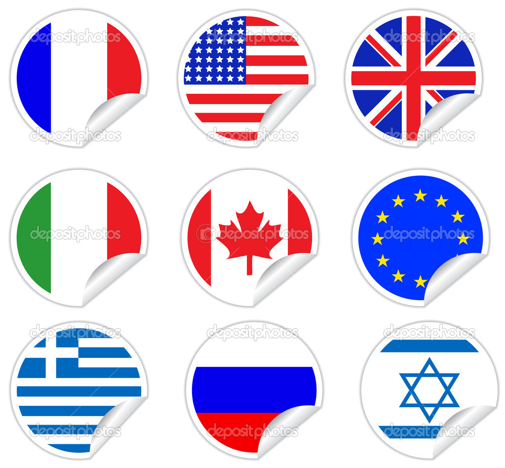 Peel off round stickers, with USA, UK, EU, Canada, Greece, Israel, Italy, French and Russian flags  Stock Vector #9220559