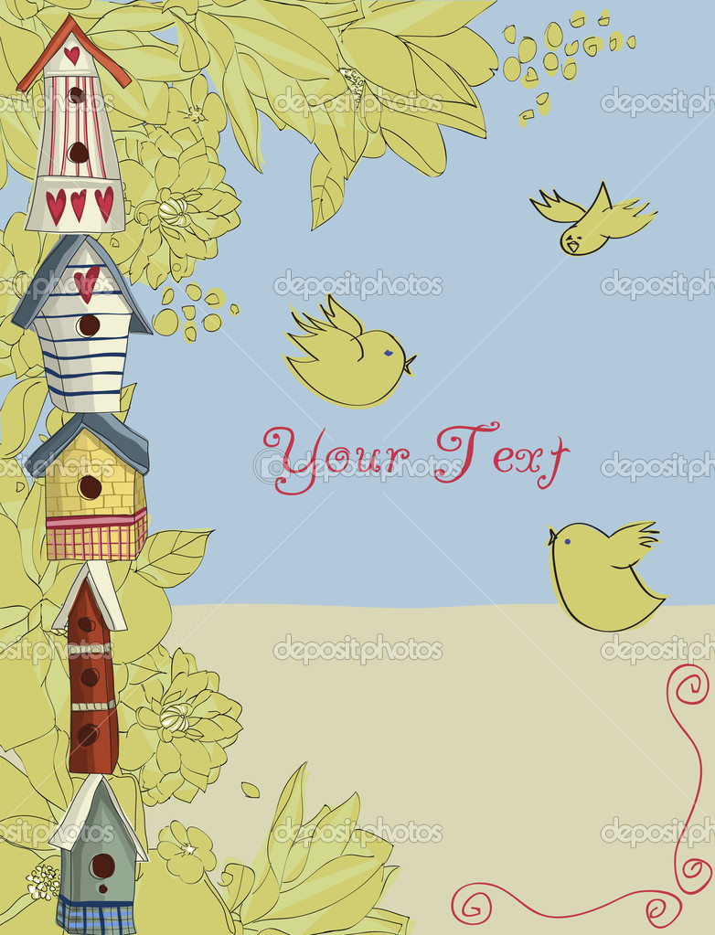 Colorful birdhouses stacked vertically, with birds and flowers, background — Stock Vector #9225893