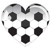 Glazen hart voetbal — Stockvector