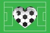 Glass heart football in the field — Stock Vector