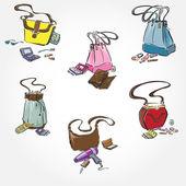 Woman Bags Set — Stock Vector