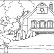 Color book - old house at river — Stock Vector #10550796