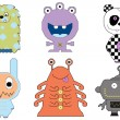 Stock Vector: Collection of monsters and aliens