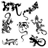 Tattoos lizards (collection) seven silhouettes — Vector de stock
