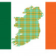 Flag of Ireland with the island image — Stock Vector