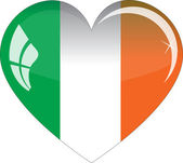 The Irish flag - glass heart — Stock Vector