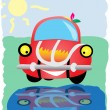 The drawn car looks at the reflection — Stock Vector