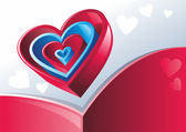 Red and blue hearts — Stock Vector