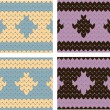 Seamless knitted patterns — Stockvektor