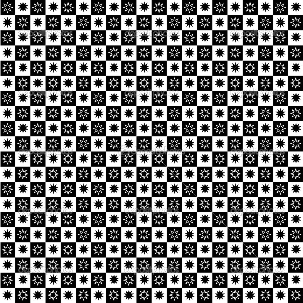 Black and white pattern with  star ornament  Stock Photo #9290487