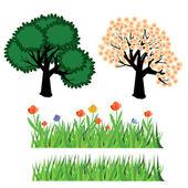 Drzewa i trawy — Wektor stockowy