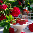 Stock Photo: Table decoration with strawberrys.