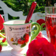 Table decoration with strawberrys. - Stock Photo