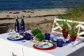 Welcome on Board. Table decoration on the beach. — Stock Photo