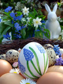 Easter egg handmade with napkin and muscari — Stock Photo