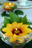Table decoration with sunflowers. — Stock Photo